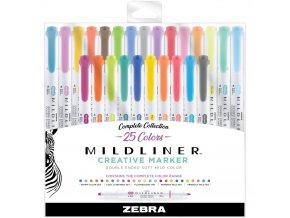ZEBRA MILDLINER - ZVÝRAZŇOVAČE sada 25 ks