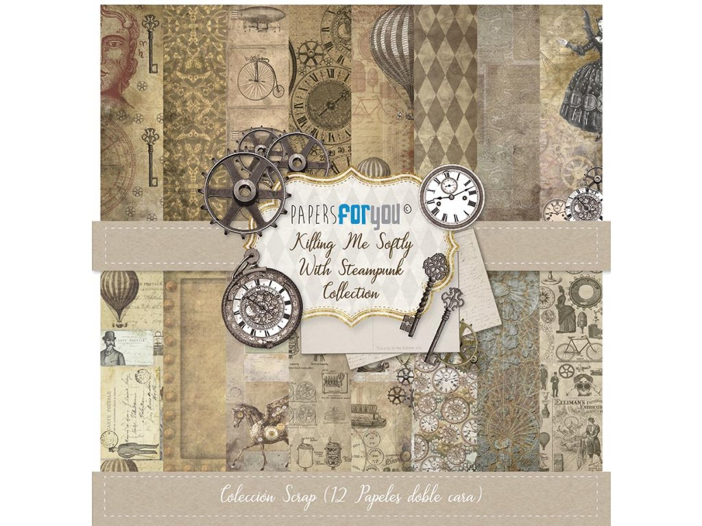 Sada scrapbookových papírů KILLING ME SOFTLY WITH STEAMPUNK 12ks