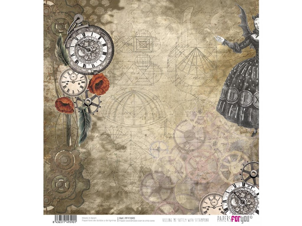 Scrapbookový papír KILLING ME SOFTLY WITH STEAMPUNK