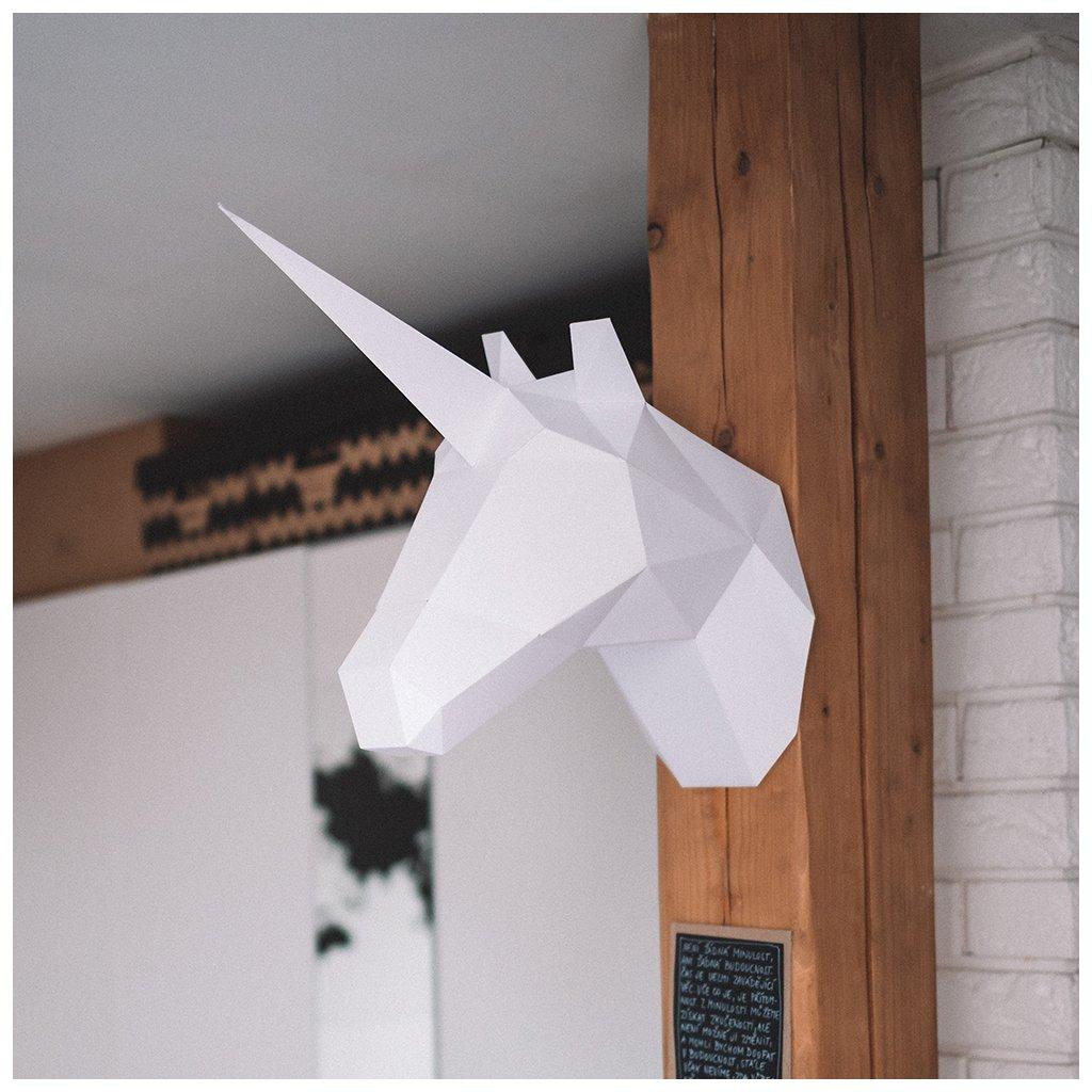 Papírová skládačka Jednorožec – bílý PaperTime