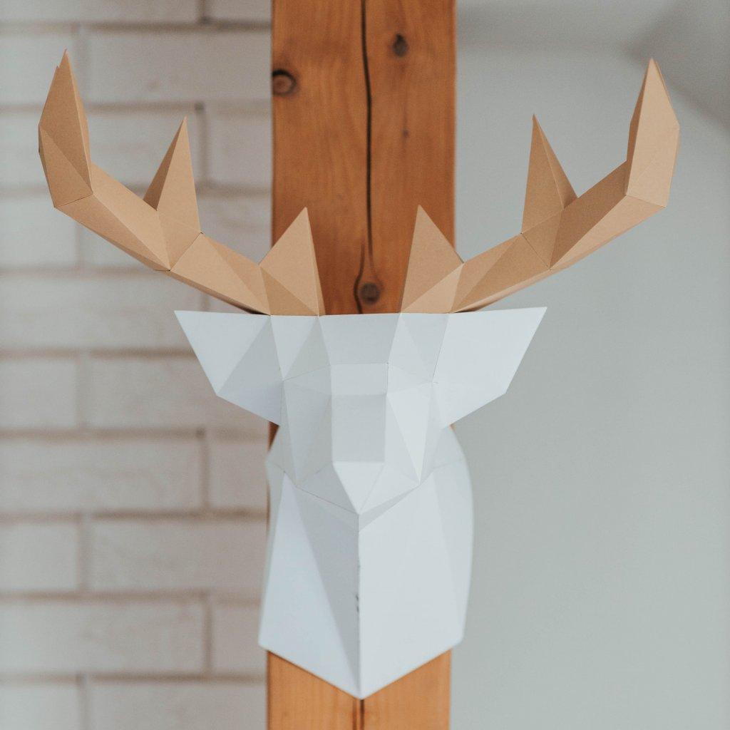 Papírová skládačka Jelen – bílý PaperTime