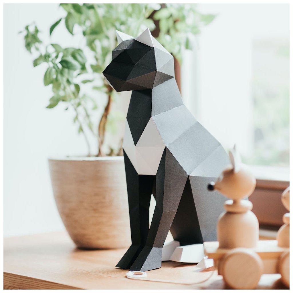 Papírová skládačka Kočka – černá PaperTime