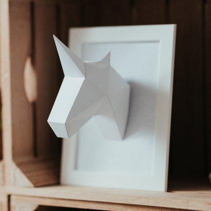 Papírová skládačka Jednorožec Mini – bílý PaperTime