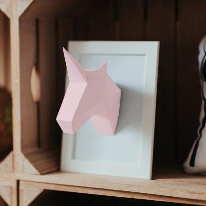Papírová skládačka Jednorožec Mini – růžový PaperTime