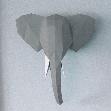 Papírová skládačka Slon – šedý PaperTime