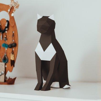 Papírová skládačka Kočka – tmavě hnědá PaperTime