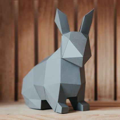 Papírová skládačka Zajíček – šedý PaperTime
