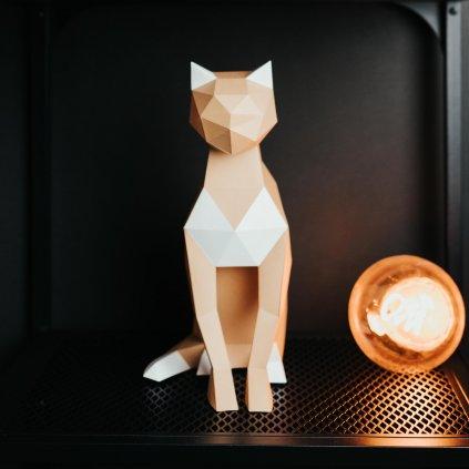 Papírová skládačka Kočka – hnědá PaperTime