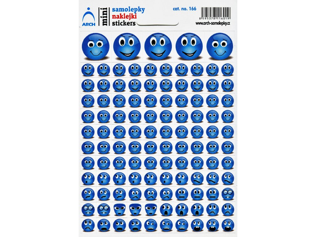 3065 1 mini samolepky modre smajliky 11 5 x 17 cm