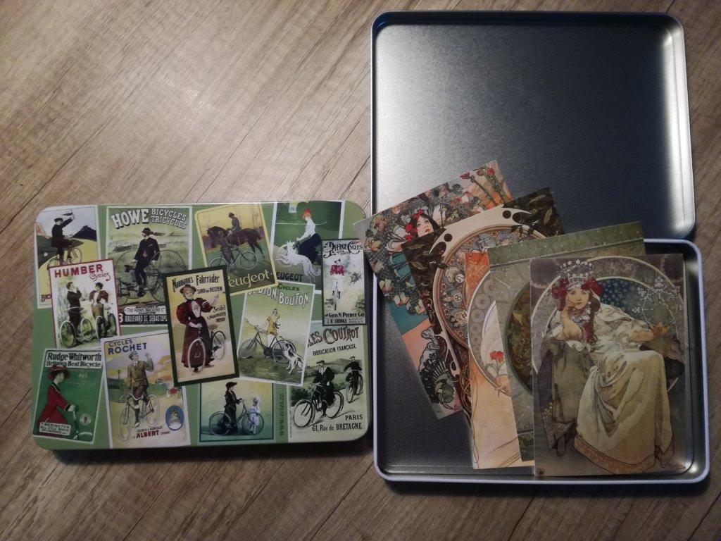 14048 1 plechova krabicka na znamky a pohledy bicykly dozelena