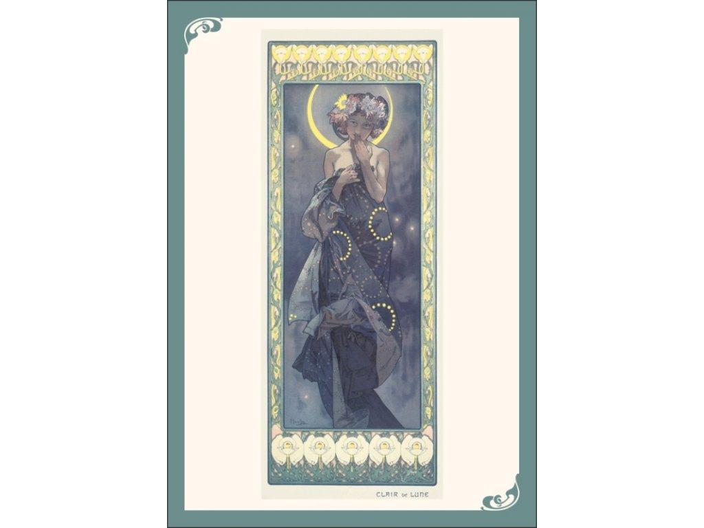 13349 3 pohlednice alfons mucha clair de lune svit luny