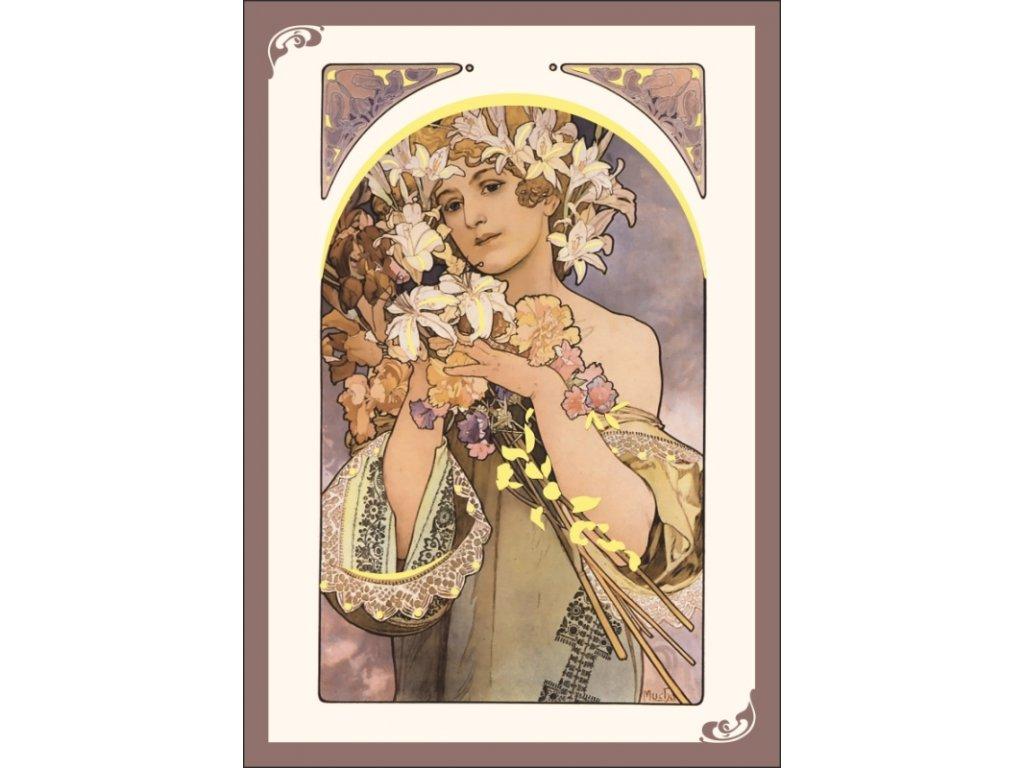 13334 3 pohlednice alfons mucha flower kvetina