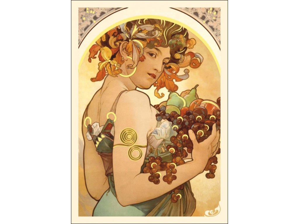 13331 3 pohlednice alfons mucha fruit ovoce