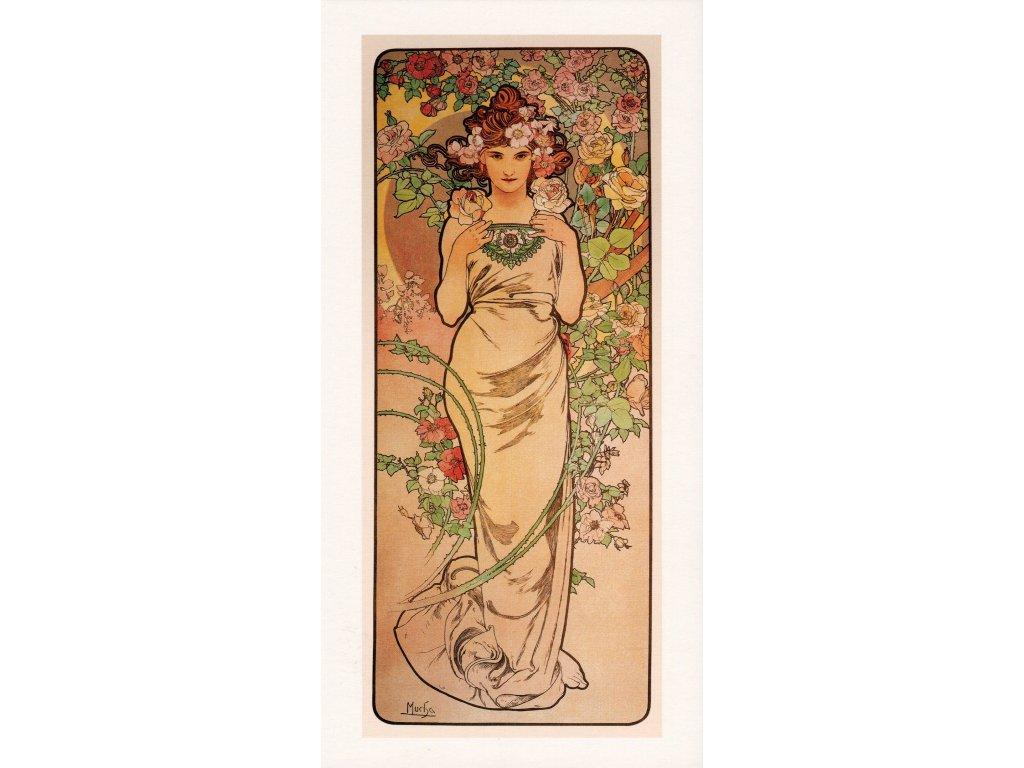 Postcard Alfons Mucha Rose (Rose), long