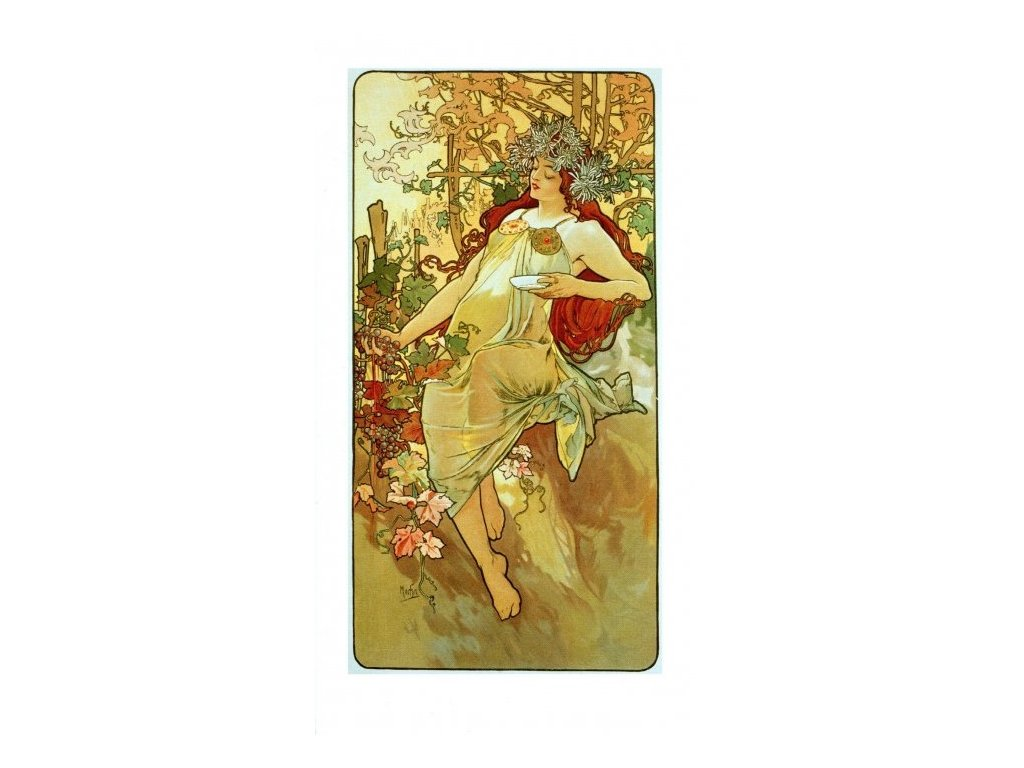 2171 3 pohlednice autumn alfons mucha podzim dlouha
