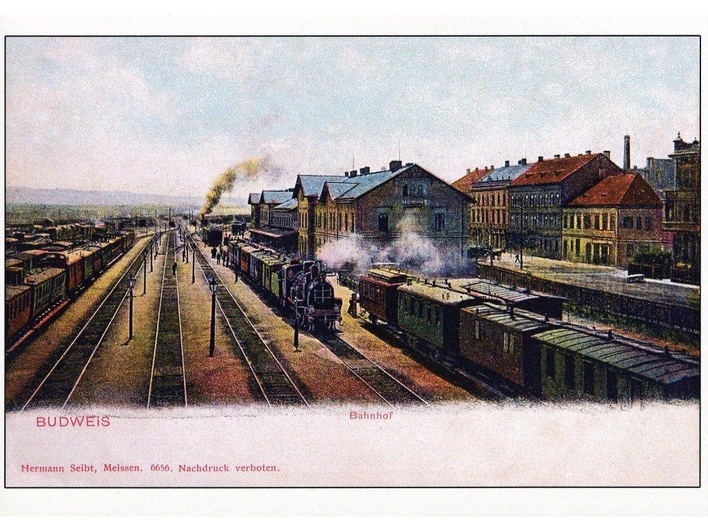 Postcard Budweis, Bahnhof (Czech Budejovice station)