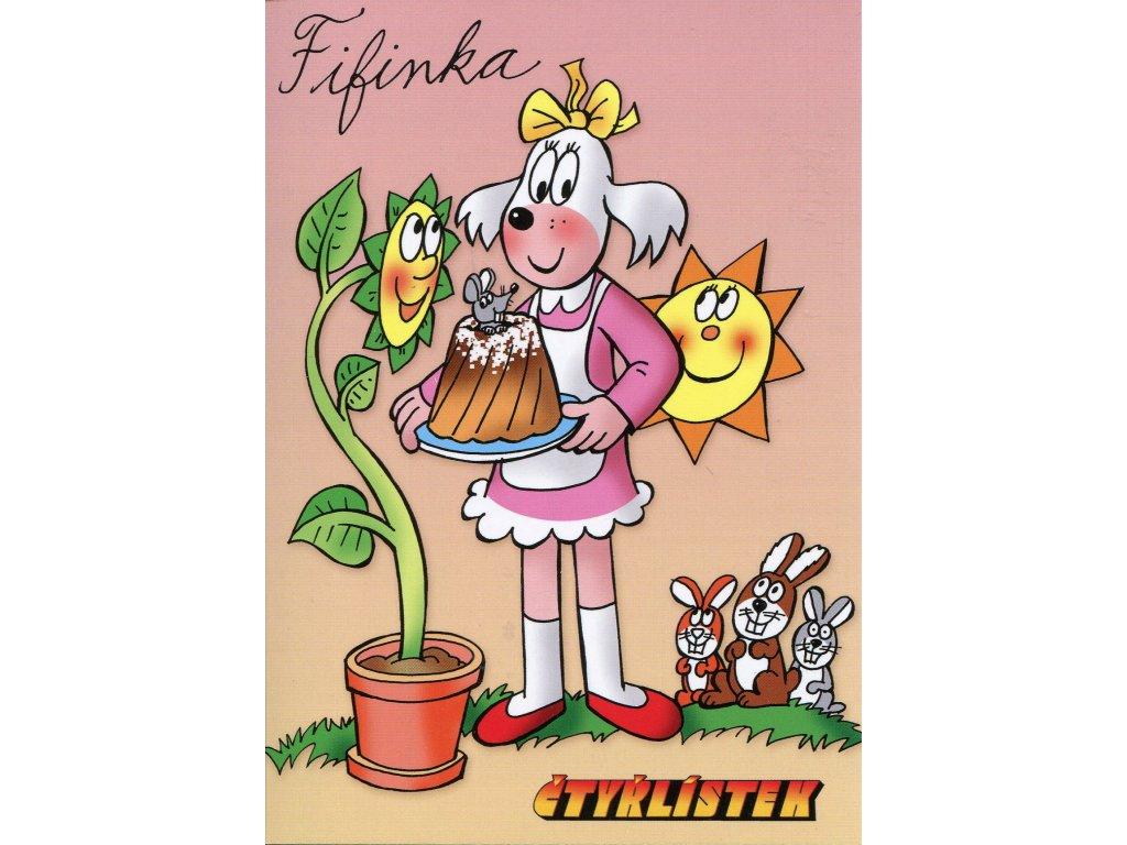 6236 2 pohlednice ctyrlistek fifinka s babovkou