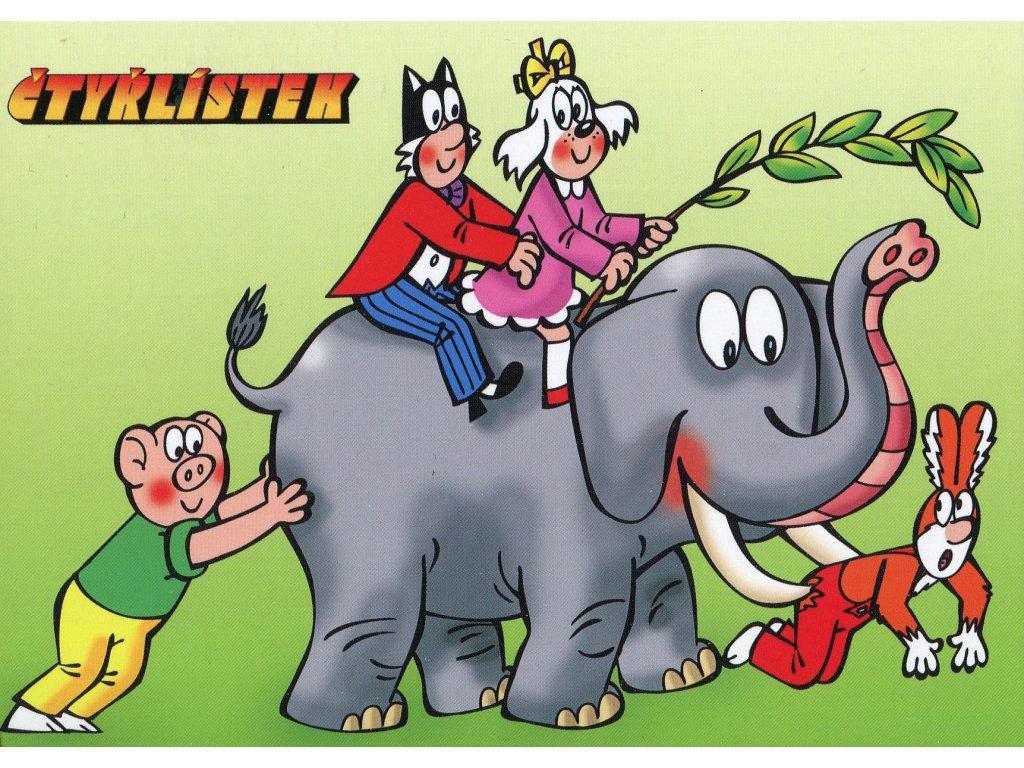 6230 2 pohlednice ctyrlistek na slonu