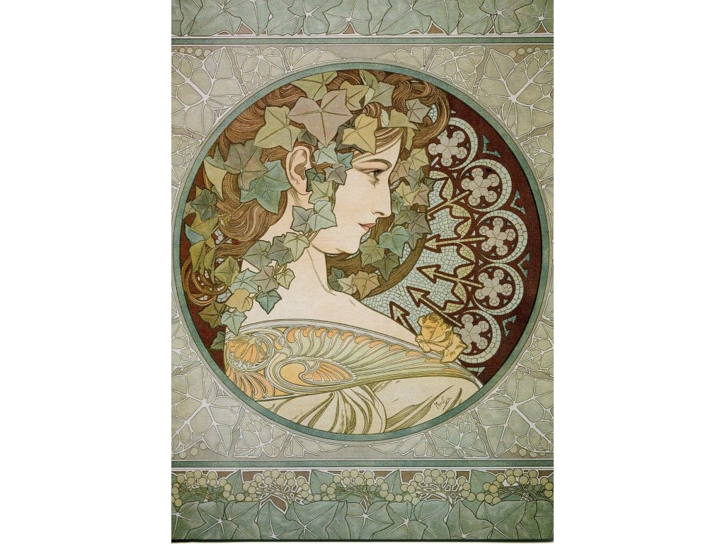 3305 2 pohlednice ivy alfons mucha brectan
