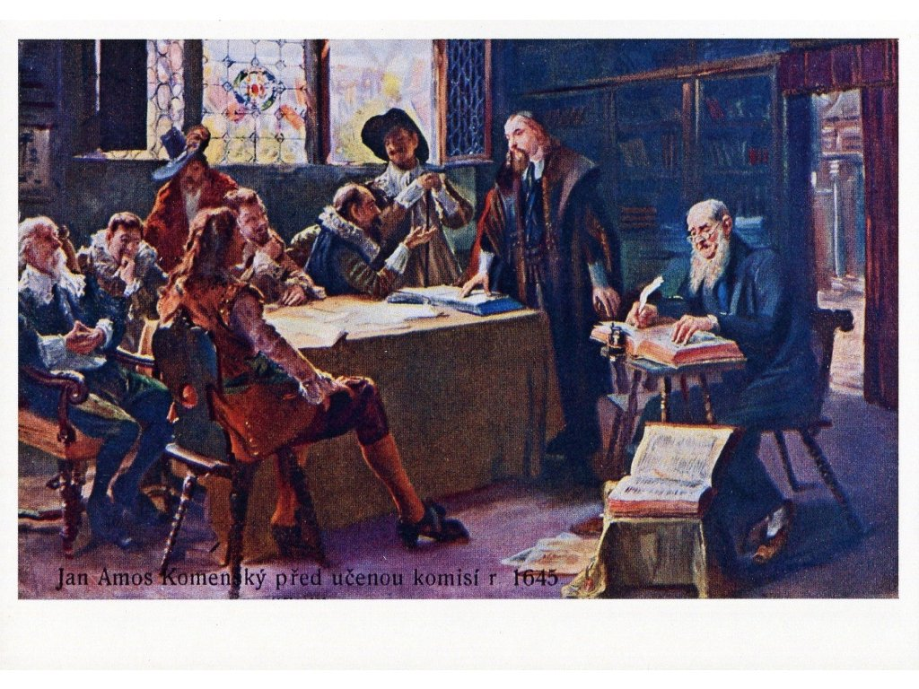 Postcard Jan Amos Comenius in front of the scholarly committee r. 1645