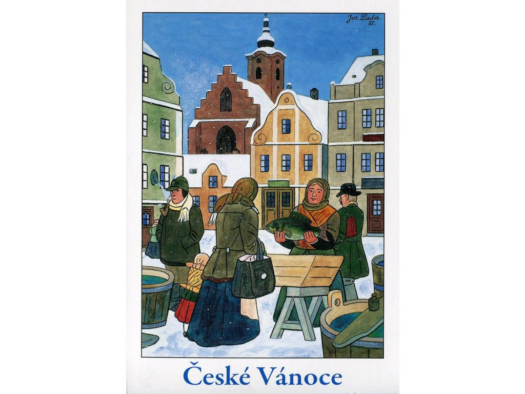 Postcards Josef Lada - Czech Christmas (Christmas carp, 1955)