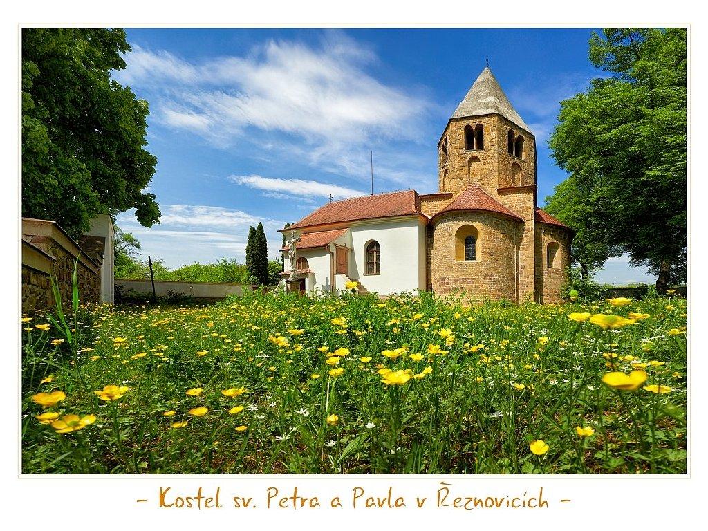 1289 2 pohlednice kostel sv petra a pavla v reznovicich 12 x 17 cm