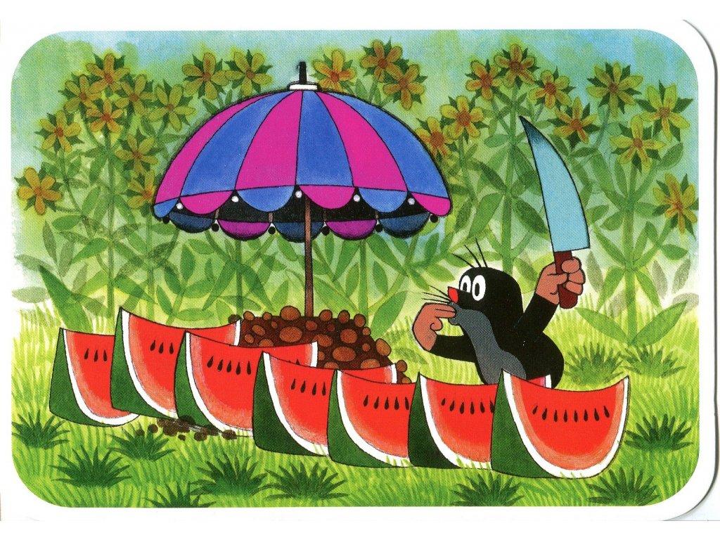 Postcard Mole and watermelon