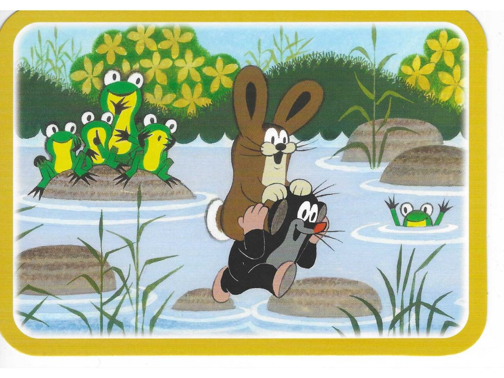 Postcard Mole with the hare in the river
