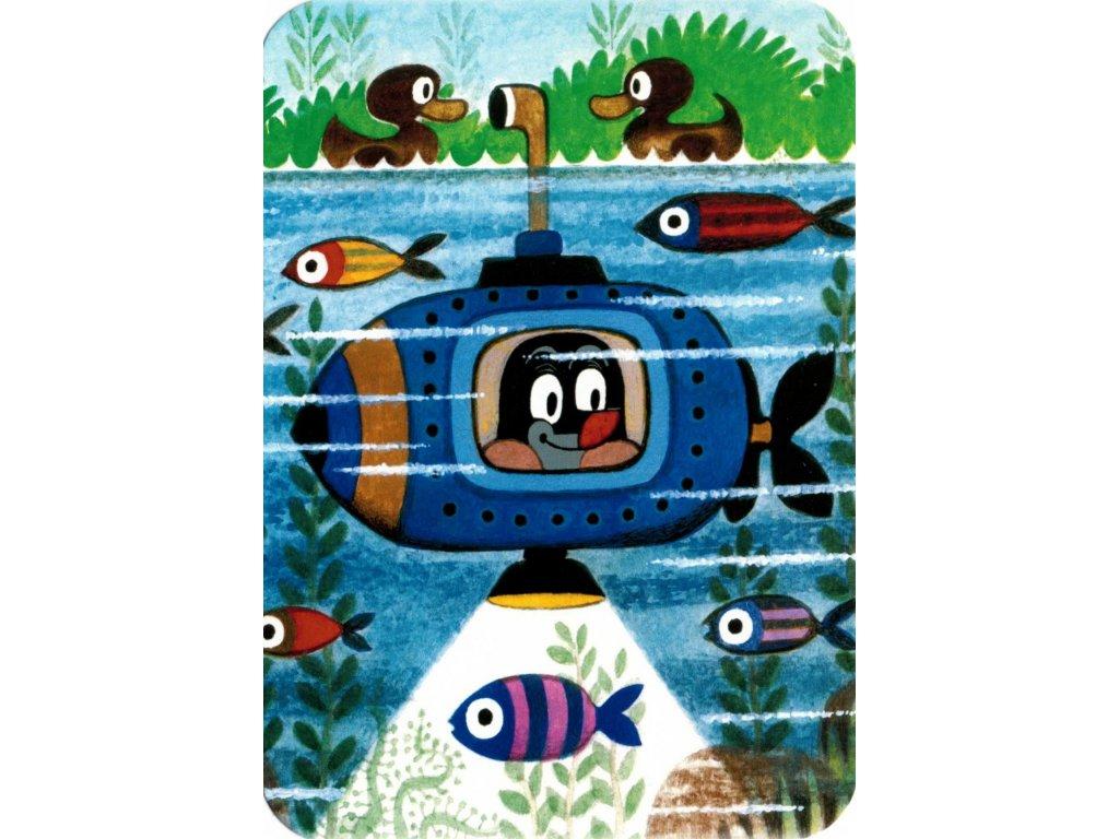 Postcard Mole in a submarine