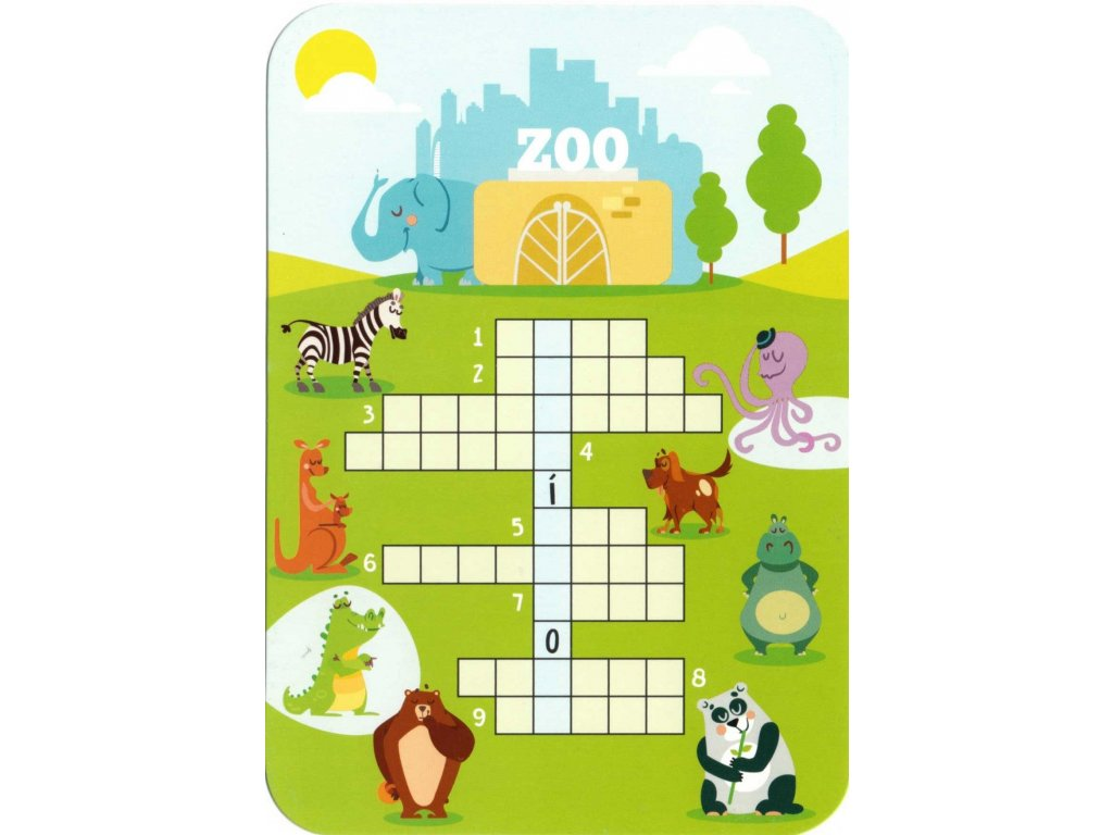 Postcard Czech crossword - Animals from the ZOO