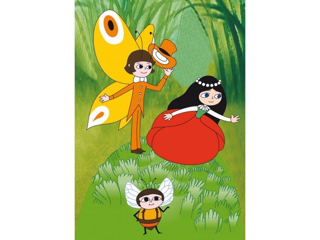 12566 3 pohlednice makova panenka motyl emanuel a vcelka