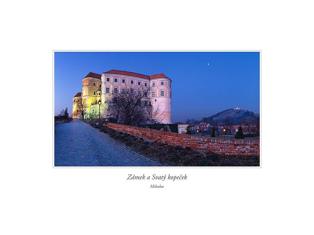551 pohlednice mikulov zamek a svaty kopecek