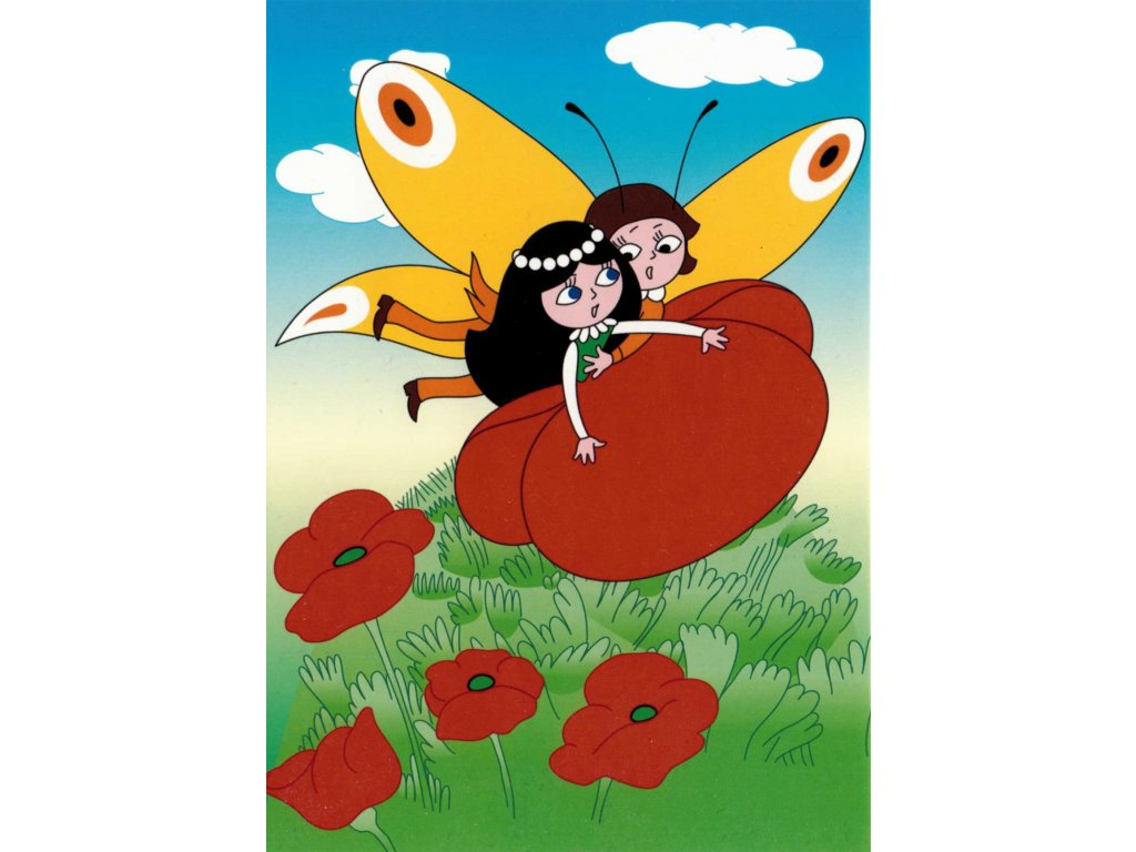 Postcard Emanuel the Butterfly and The Poppy doll above poppies