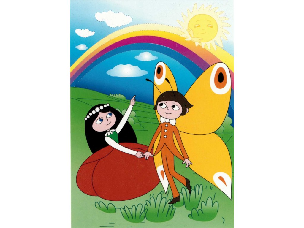 Postcard Emanuel the Butterfly and The Poppy doll walk under the rainbow
