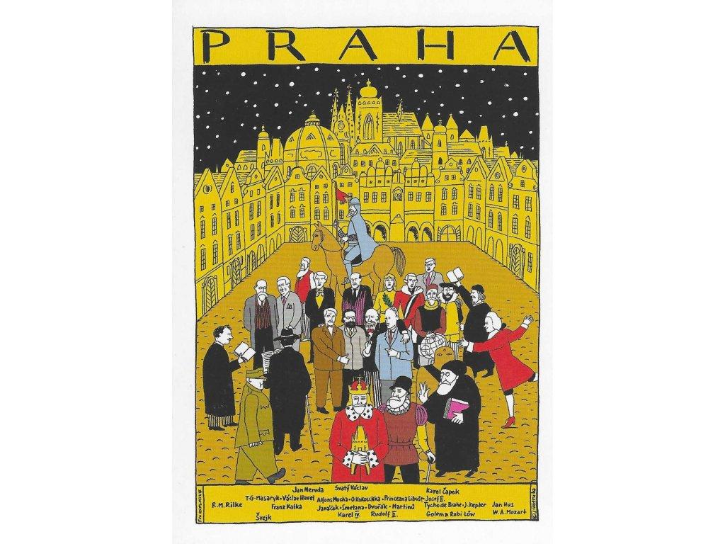 15974 3 pohlednice praha velikani v praze