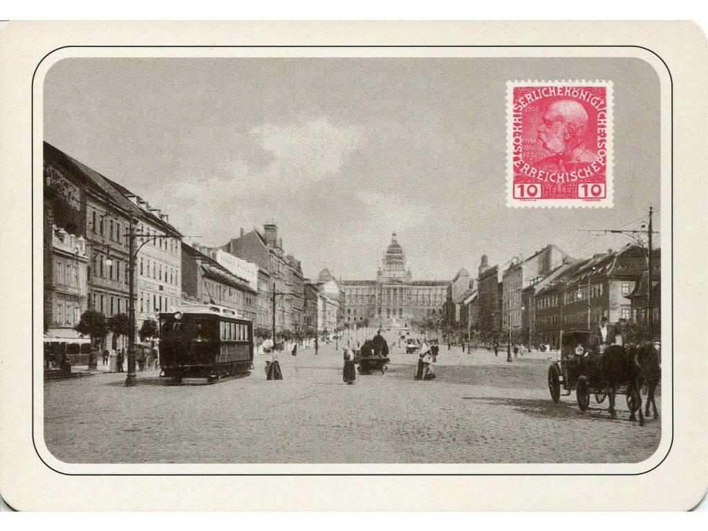 4316 2 pohlednice praha vaclavske namesti kolem roku 1900