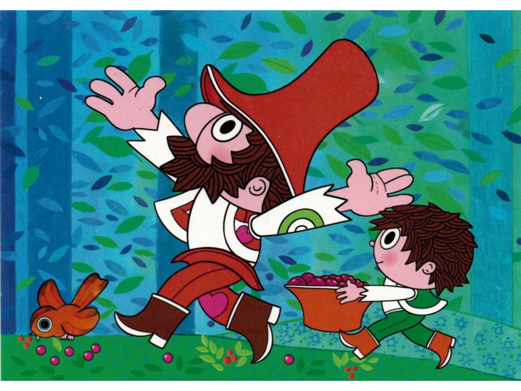 Postcard Rumcajs and Cipísek bearing raspberries