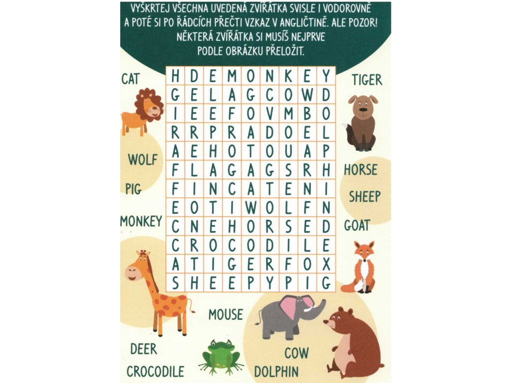 Postcard English crossword - Animals