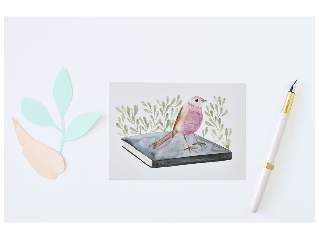 Postcard Birdie with a book