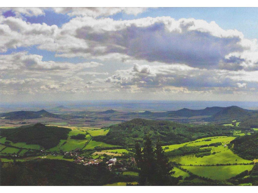 Postcard Czech Central Mountains from Milešovka