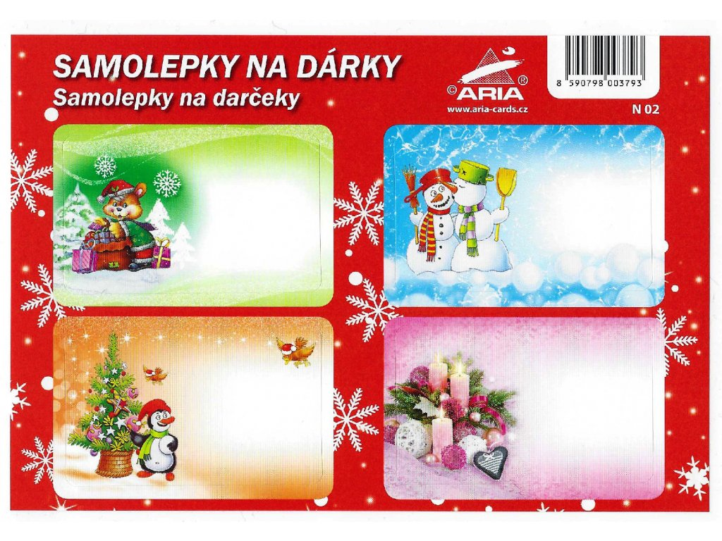 Christmas gift stickers (4 sheets in a pack)