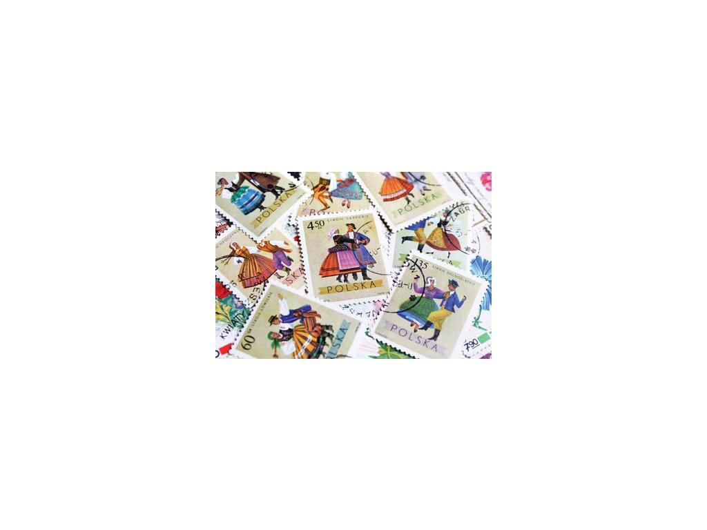 Postcard Polish postage stamps