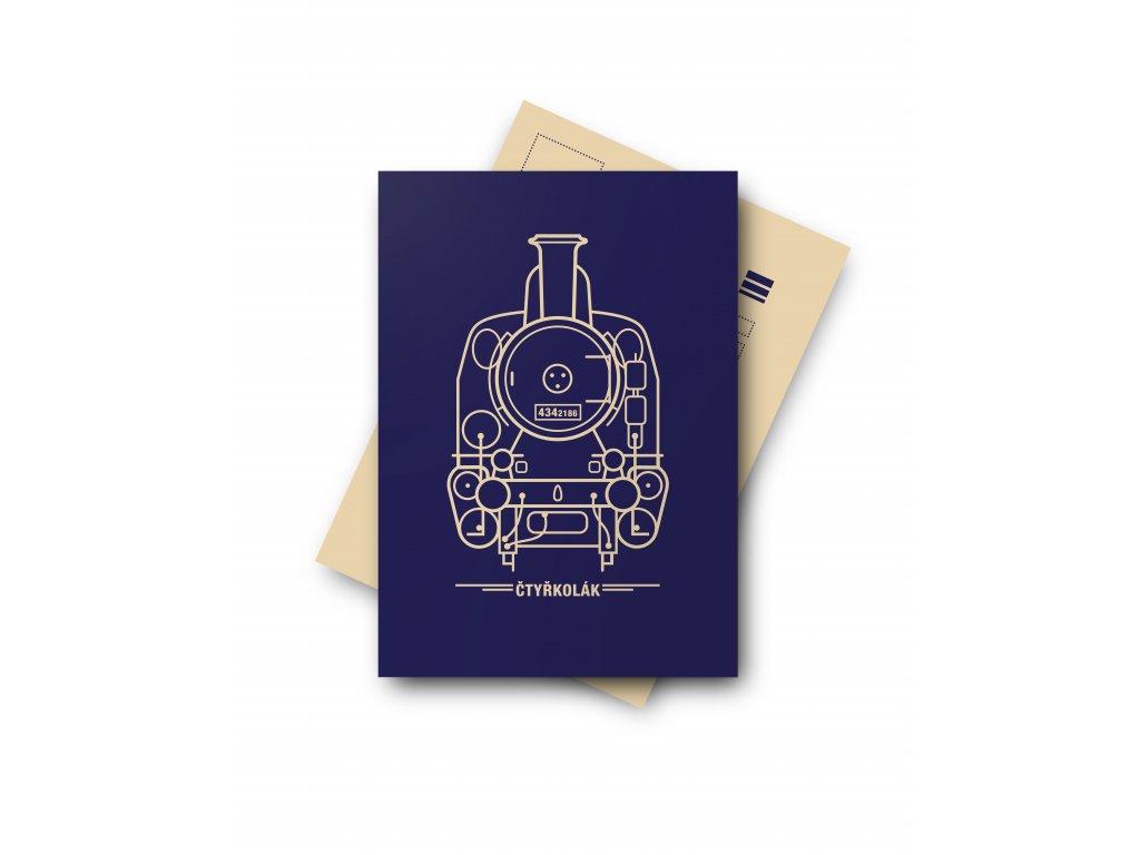 Postcard Locomotive Fourwheels