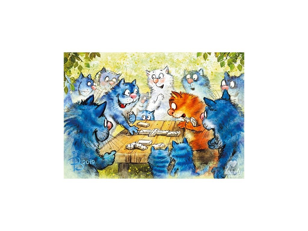 Postcard Blue Cats - Thrilling dominoes