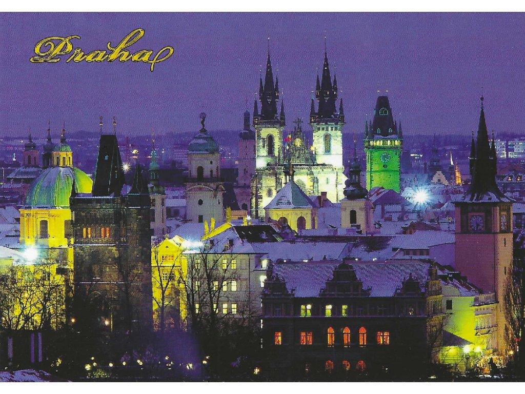 Postcard Prague Old Town Tower in winter