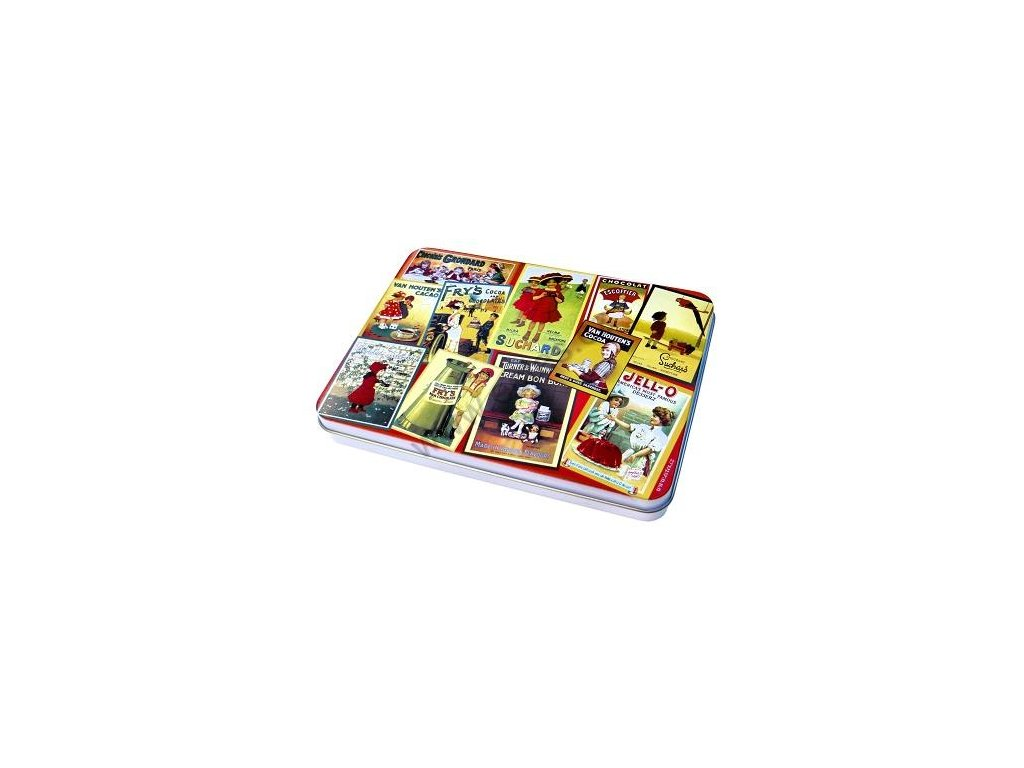 Tin box for stamps and postcards - Red chocolate