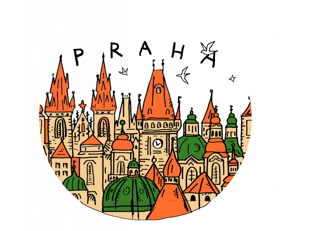 Badge Prague - Colorful small towers
