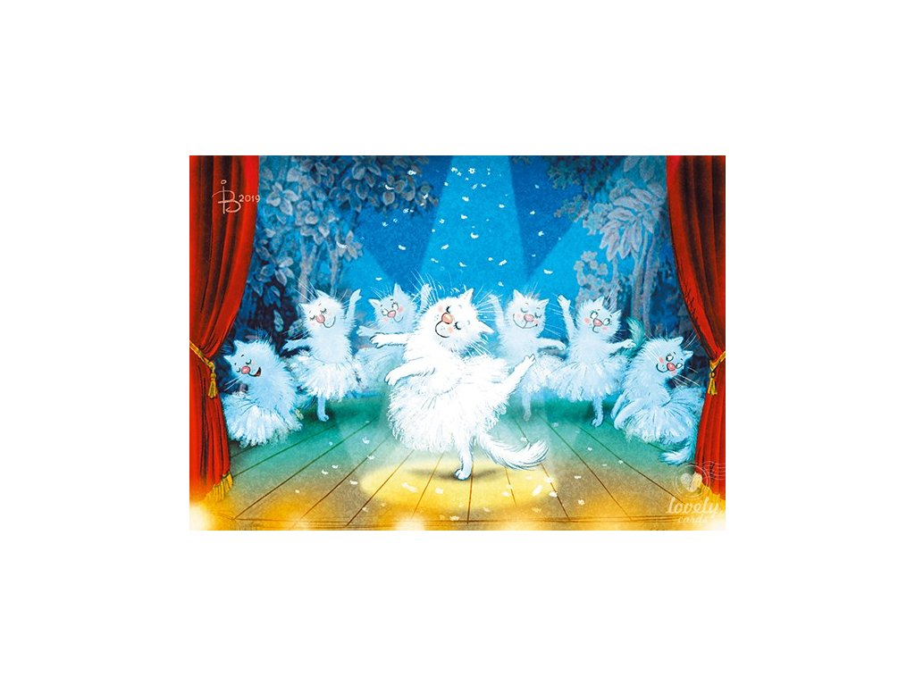 Postcard Blue cats - Ballet