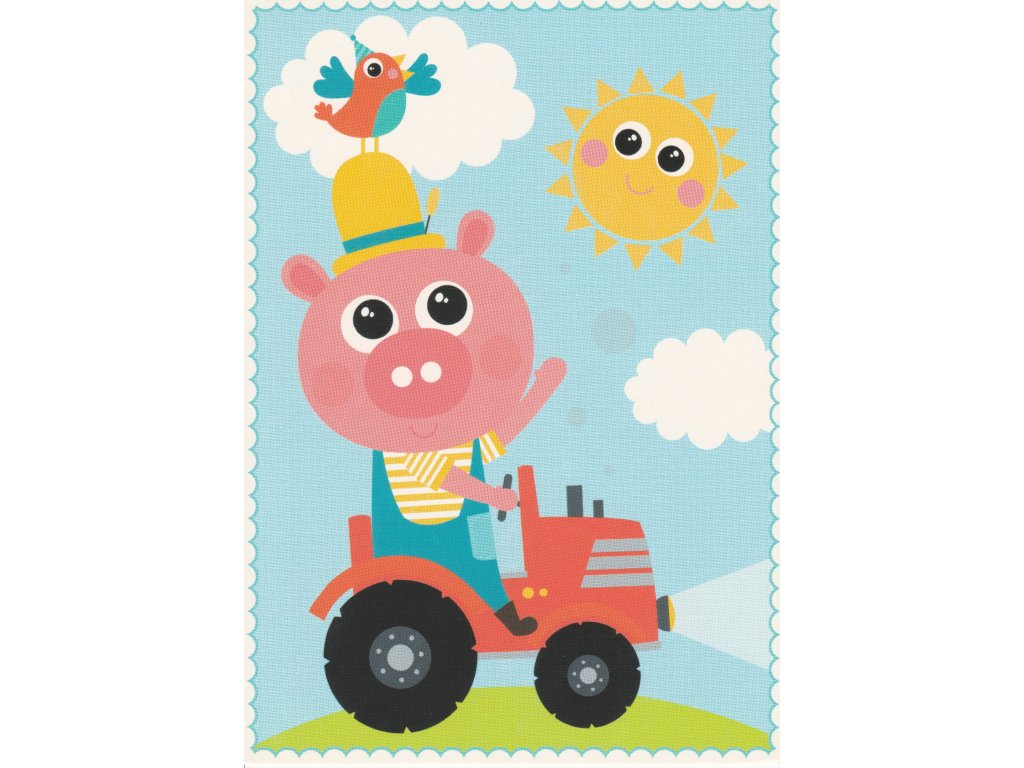 Postcard Piggy farmer