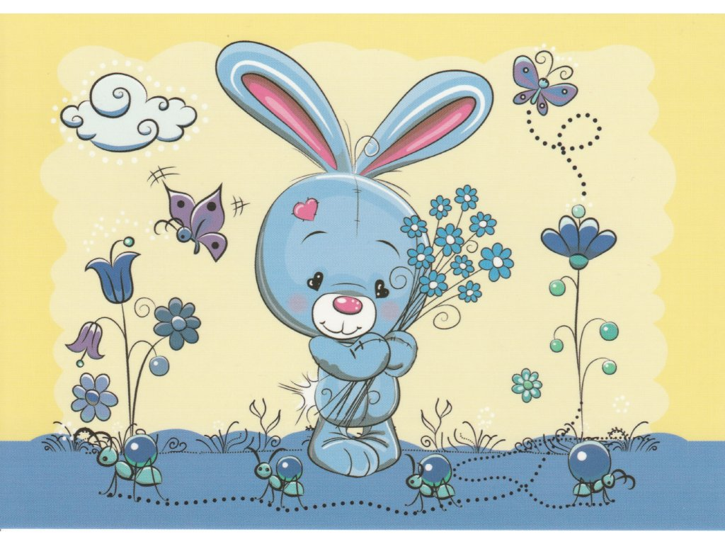 Postcard Rabbit with forget-me-nots